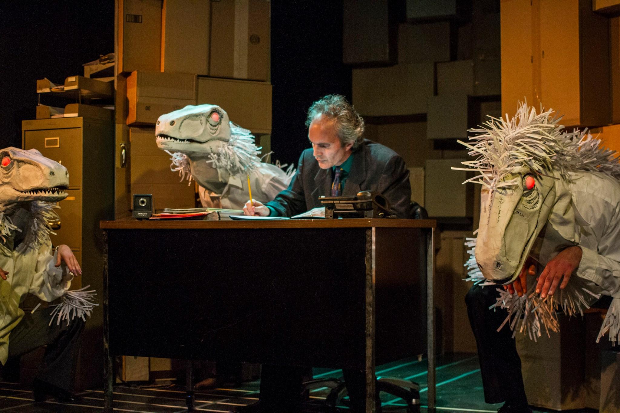 Eddie Yaroch as Any Fastow, with Jo Anne Glover, Sandra Ruiz, and James P. Darvas as his Raptors - photo by Daren Scott