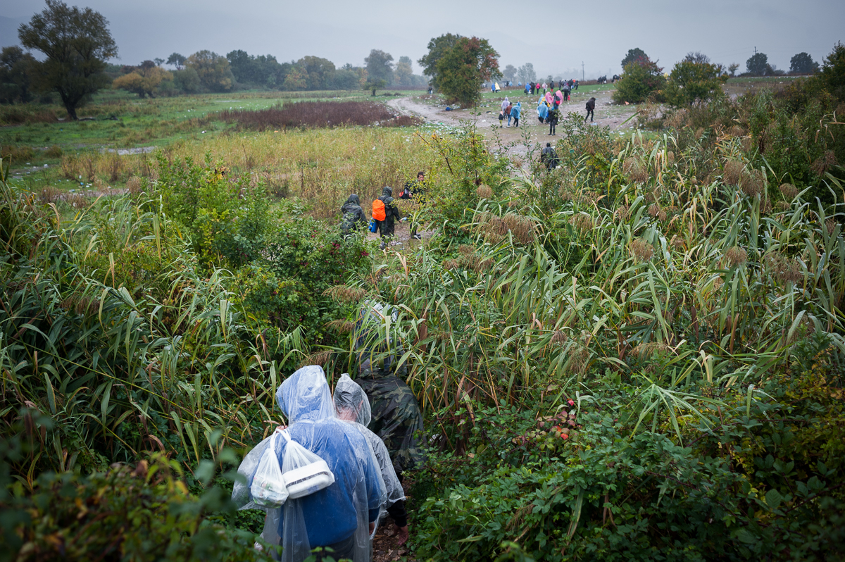 Refugees generally cross all borders by foot. The walk from Macedonia into Serbia is a ruggedy 5 mile stretch beside train tracks and through a muddy field. The area is officially called 'No Man's Land'. Oct 8, 2015.