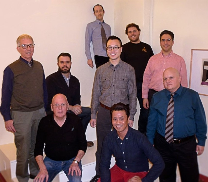 (From left to right: Steve Ostrow, Clay Morris, Bill Powell, Vince Peterson, Anthony Pho, Edward Angelo Enrique, Eric Farris, Daniel Fiore, and Craig Goodwin-Ortiz de Leon)