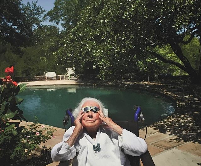 Rest In Peace Margaret McDermott....legendary philanthropist. The Dallas arts community wouldn't be what it is without you. This was my favorite photo from Nan Coulter's exhibition last fall at the Goss-Michael Foundation. #rip #margaretmcdermott #106yearsoflife #totaleclipse @nancoulter @gossmichaelfoundation