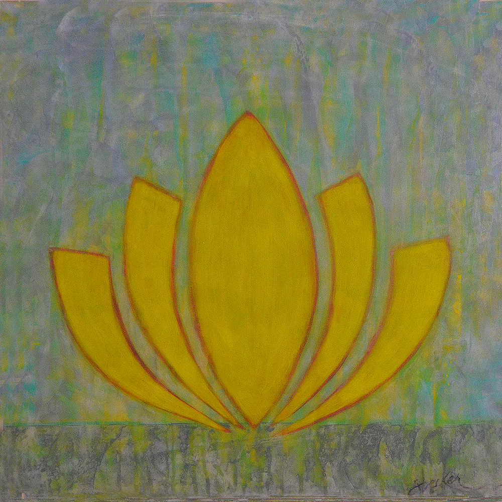 zen lotus  20x20  acrylic on wood