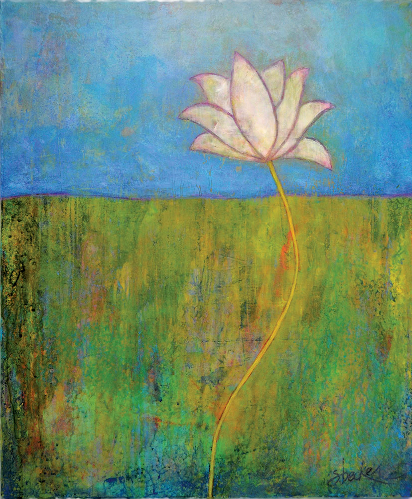 lone lotus  24x16  acrylic on canvas