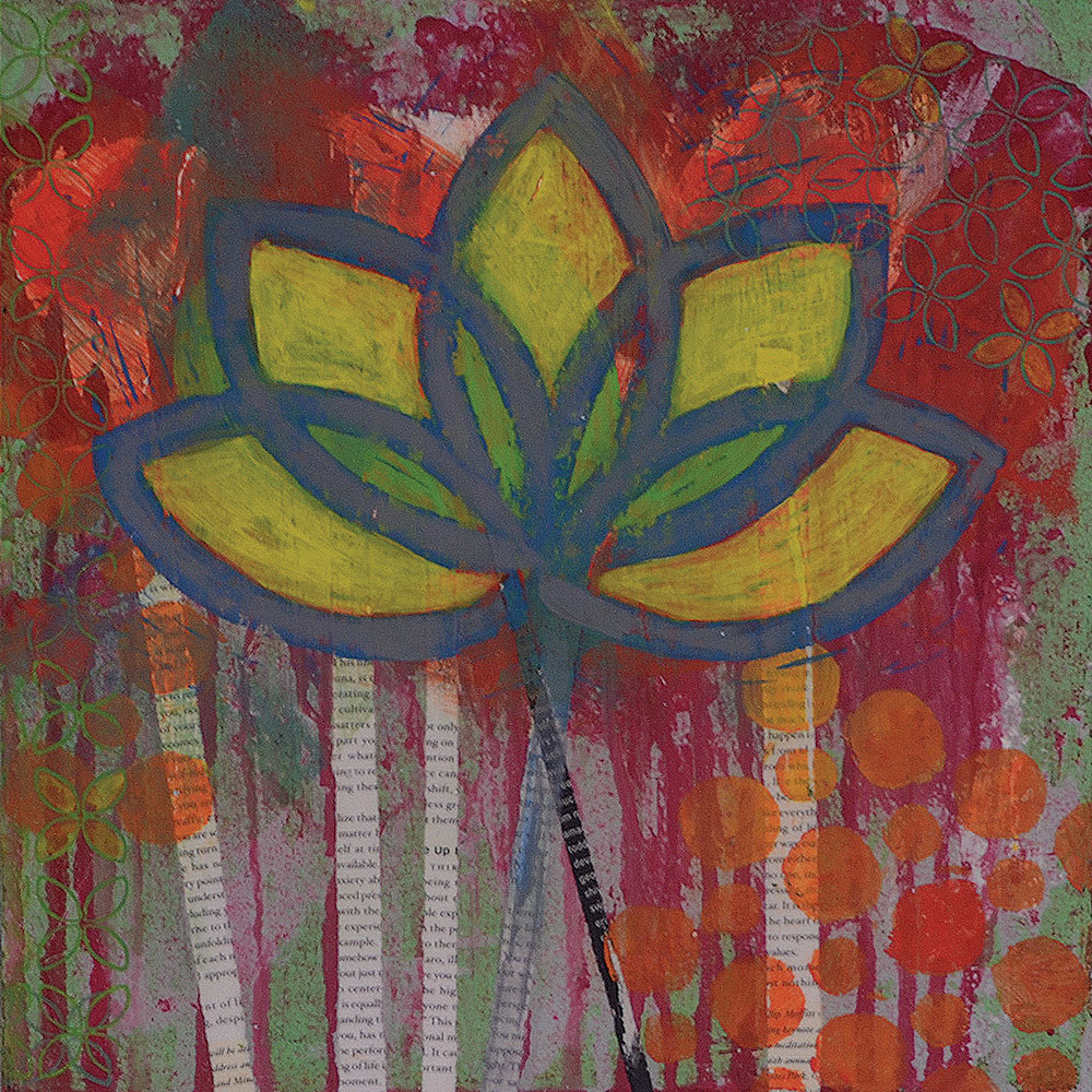 lotus garden  12x12  acrylic on canvas
