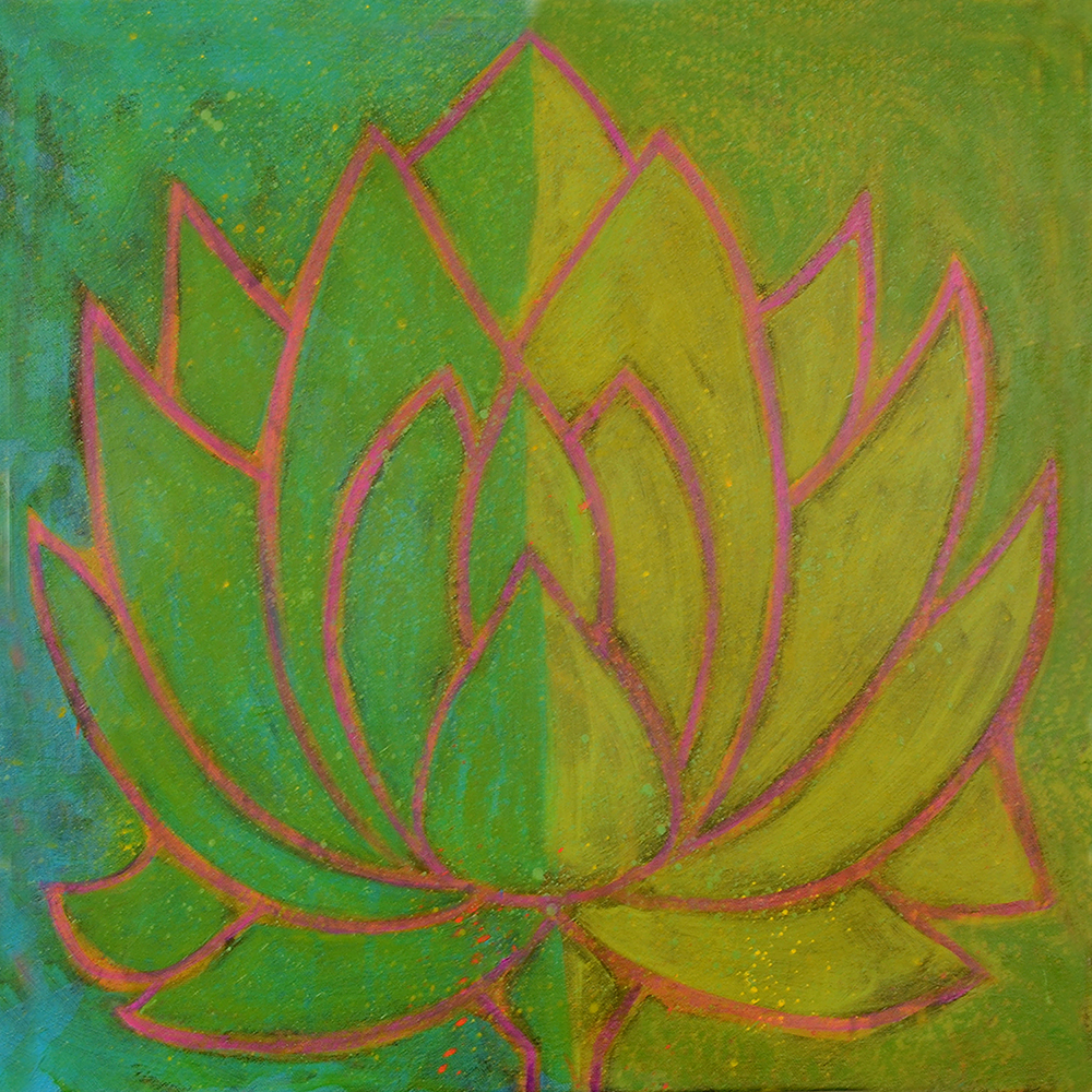 lotus flower  24x24  acrylic on canvas