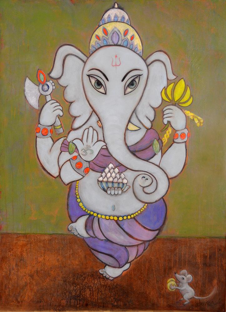 ganesha  40x36  acrylic on canvas