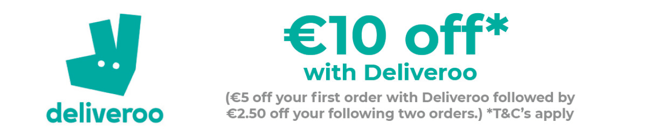 With our exclusive partnership with  Deliveroo , a Student Leap Card holder can get €10 off your  Deliveroo  order! Discount codes will be emailed to all SLC holders in mid-October.