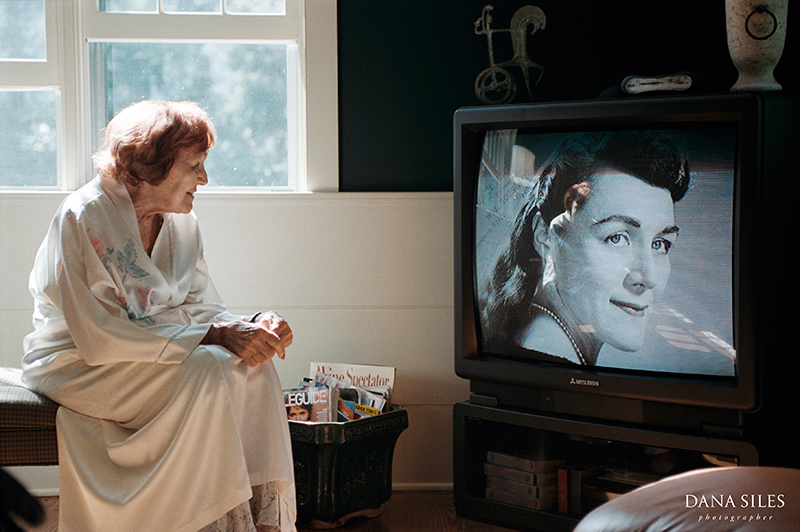 Grandma Rose the day after her 90th Birthday Party watching life story video