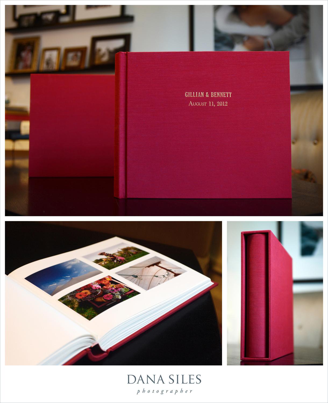 Gillian & Bennett's Custom Album & Slipcase. Burgundy silk. Size 12x14. Gold text engraved onto cover.