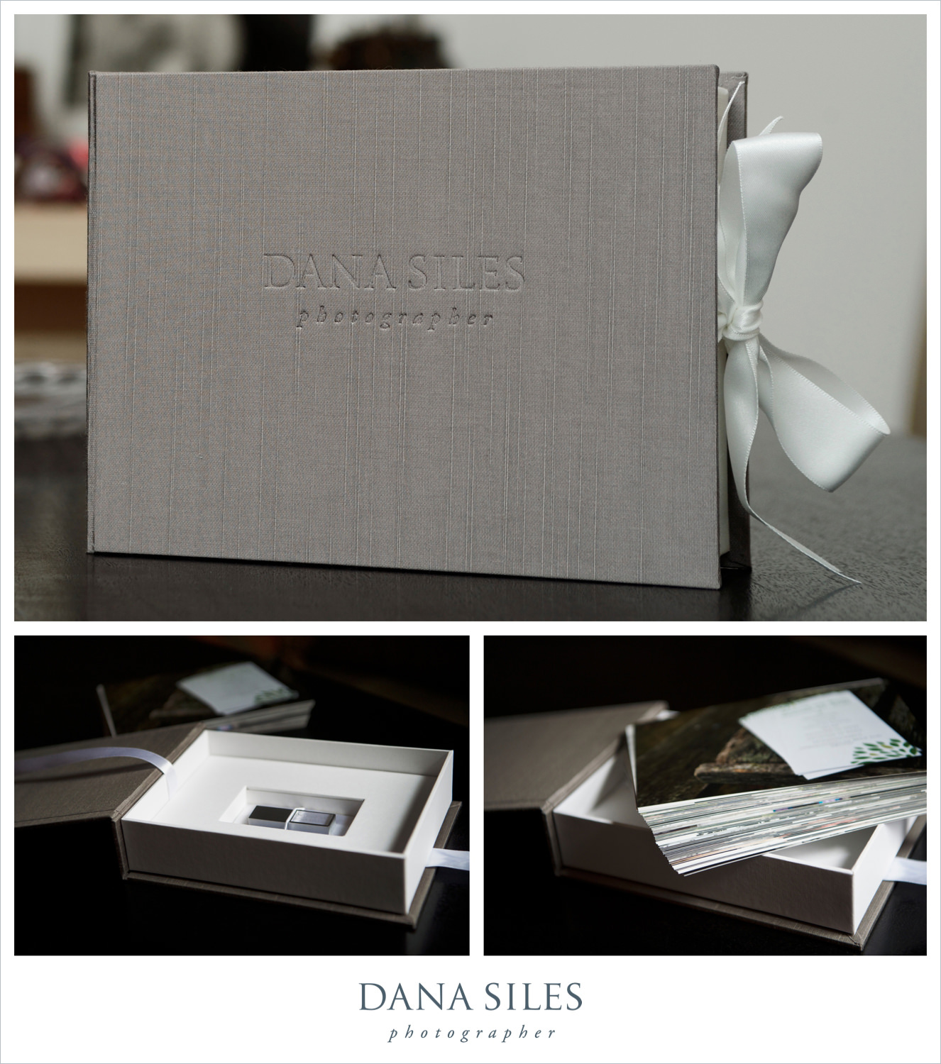 75, 5x7 prints and crystal USB stick inside custom made silk box with white ribbon.