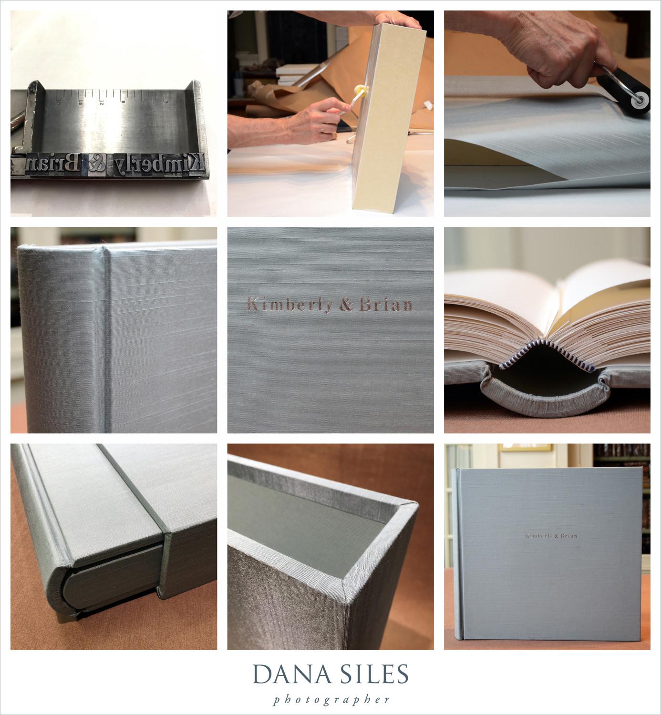 Kimberly & Brian's Custom Wedding Album & Slipcase, in progress. Size 12x13. Blue-grey silk. Silver text engraved onto cover.
