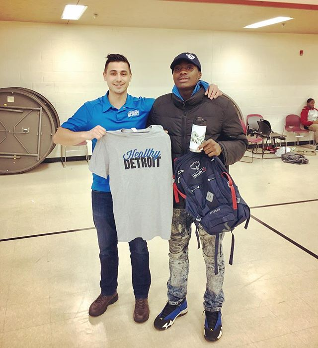 HUGE thank you to @moosejawmadness for donating a backpack, water bottle & hat during our youth program raffle! Our teen winner, Cory, was beyond excited! Thank you for supporting us, our residents & vision for a #healthydetroit  Youth Program is every Tuesday & Thursday, 4pm-6pm at Samaritan Center #healthpark