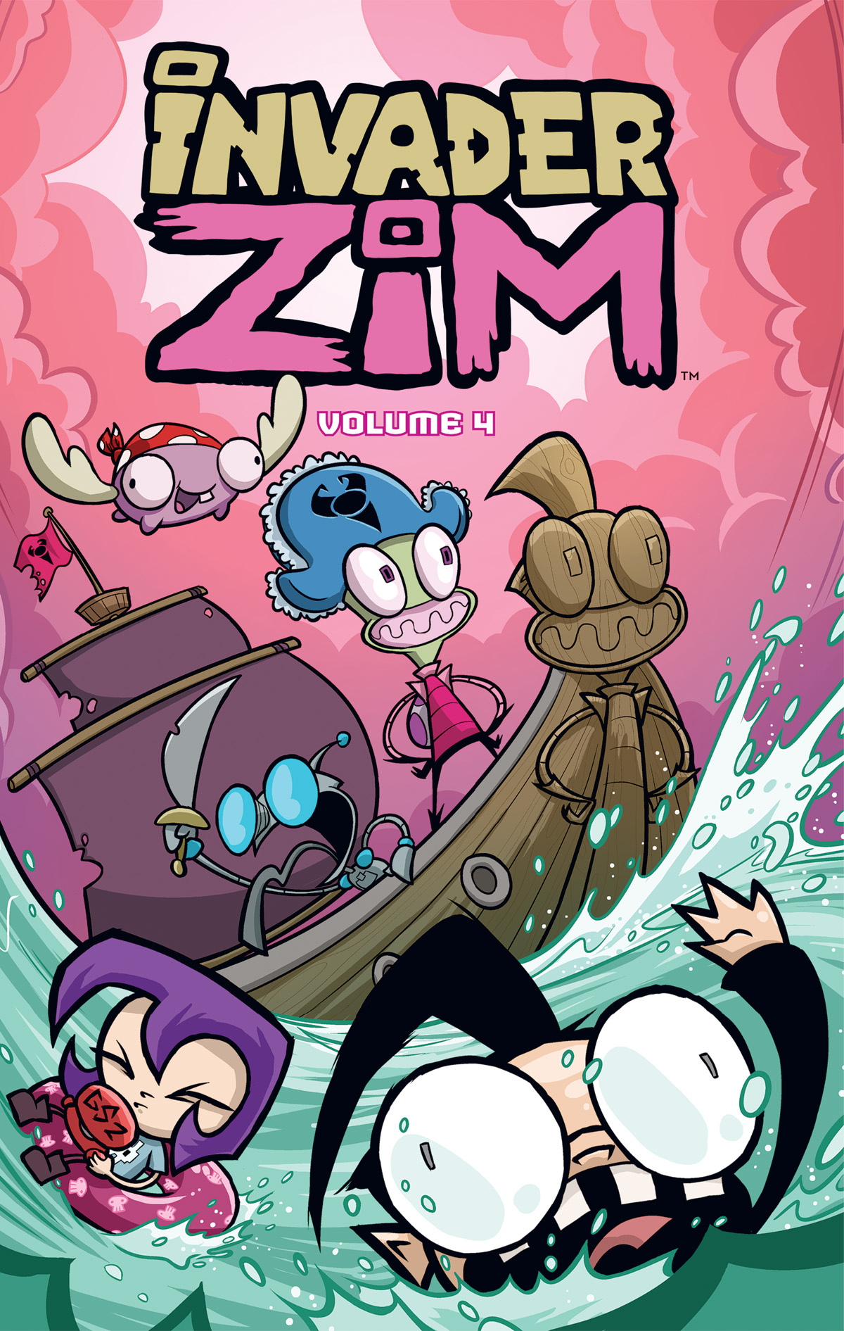 Holy guacamole! ZIM Vol 4 is out! I can't believe we're up to 4, can you? CAN YOU???  I drew four of the issues in this volume and this other guy, Aiden Alaskabox or something, drew the other one. It's got like a clown in it, I think?