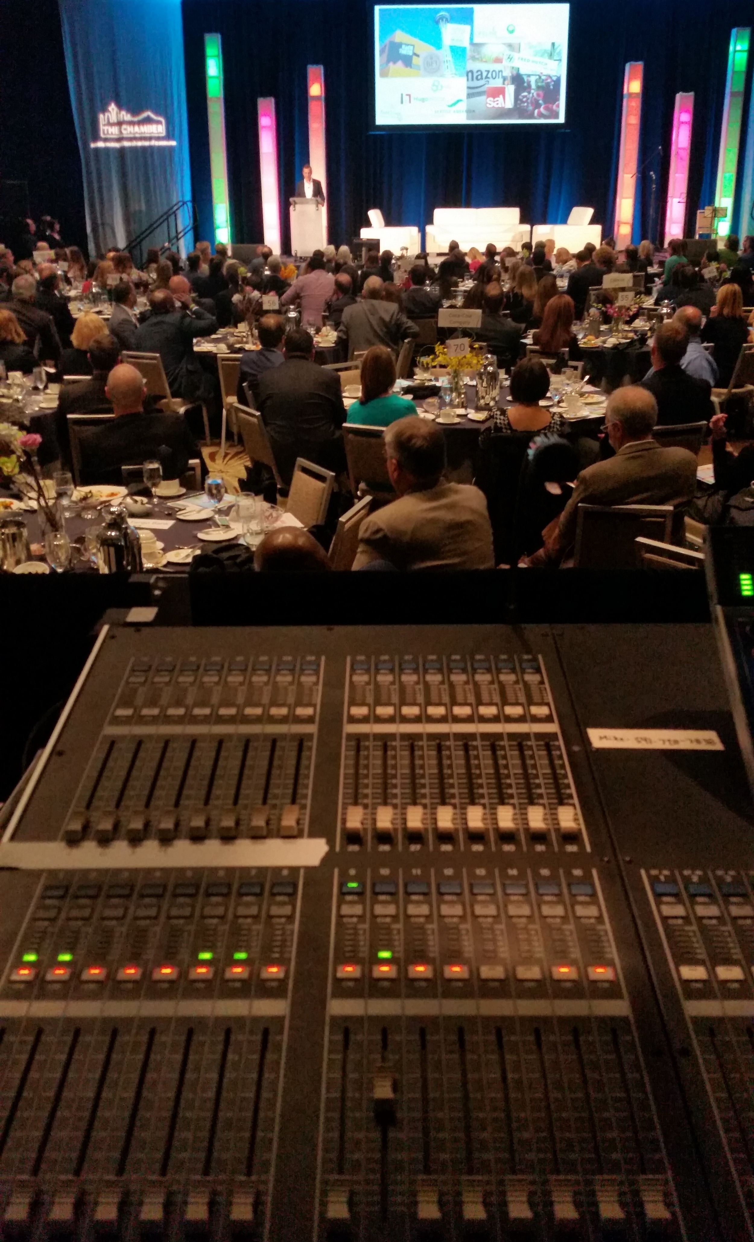 Mixing an event for the Seattle Chamber of Commerce