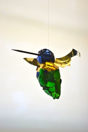 """The Noisemaker  2014  Found glass and wood  3""""x 4""""x 3"""""""