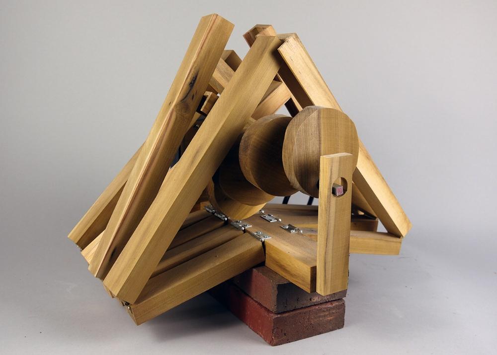 "Rotation Study  2018  Wood, metal, motor. brick  18"" x 12"" x 14"""