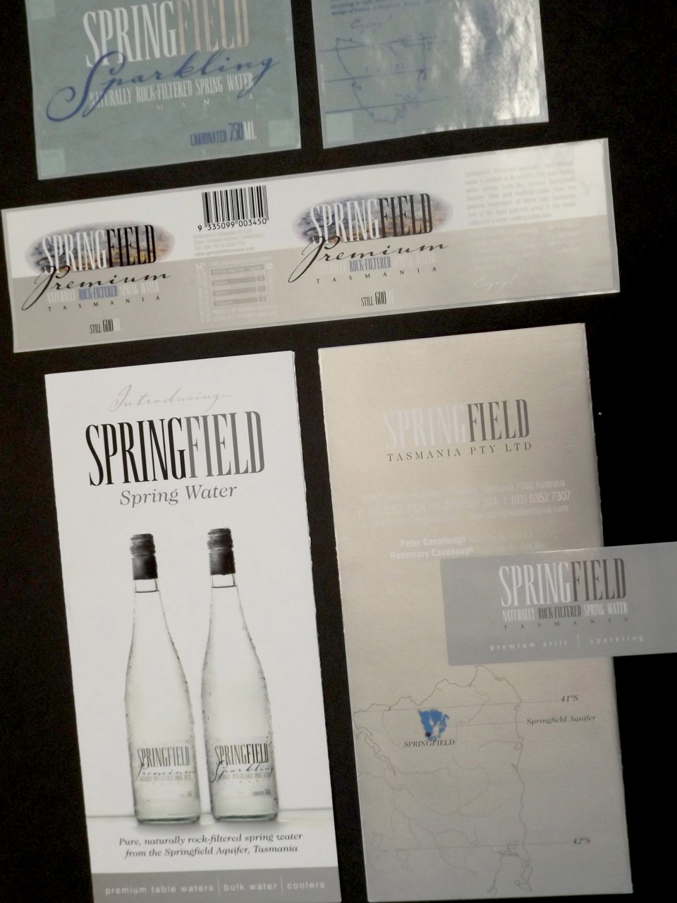 SPRINGFIELD SPRING WATER. Labels, business card, brochure and website design.