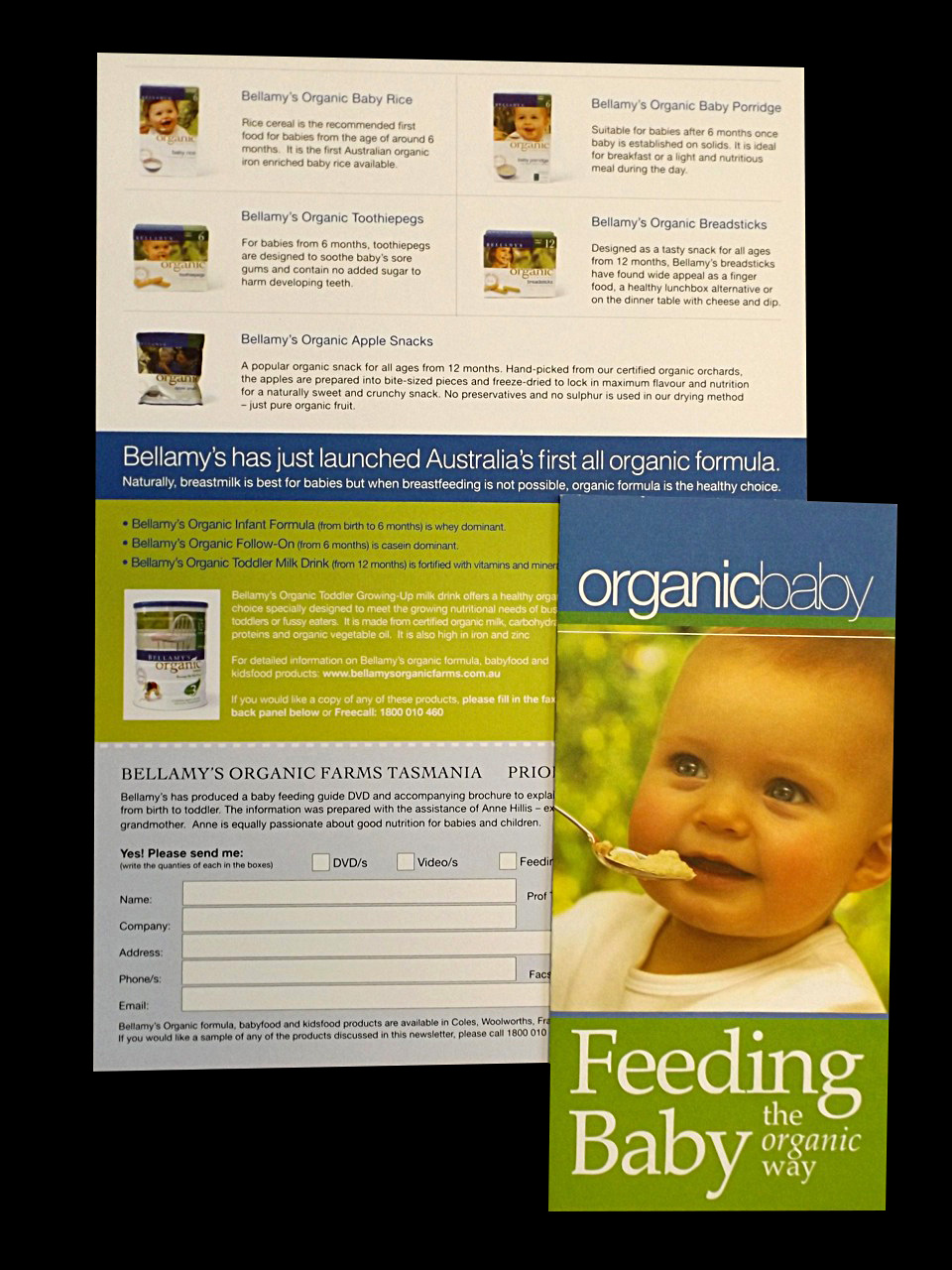 BELLAMY'S ORGANIC BABYFOOD - Packaging, photo styling, advertising, brochures, poster design and business collaterals.