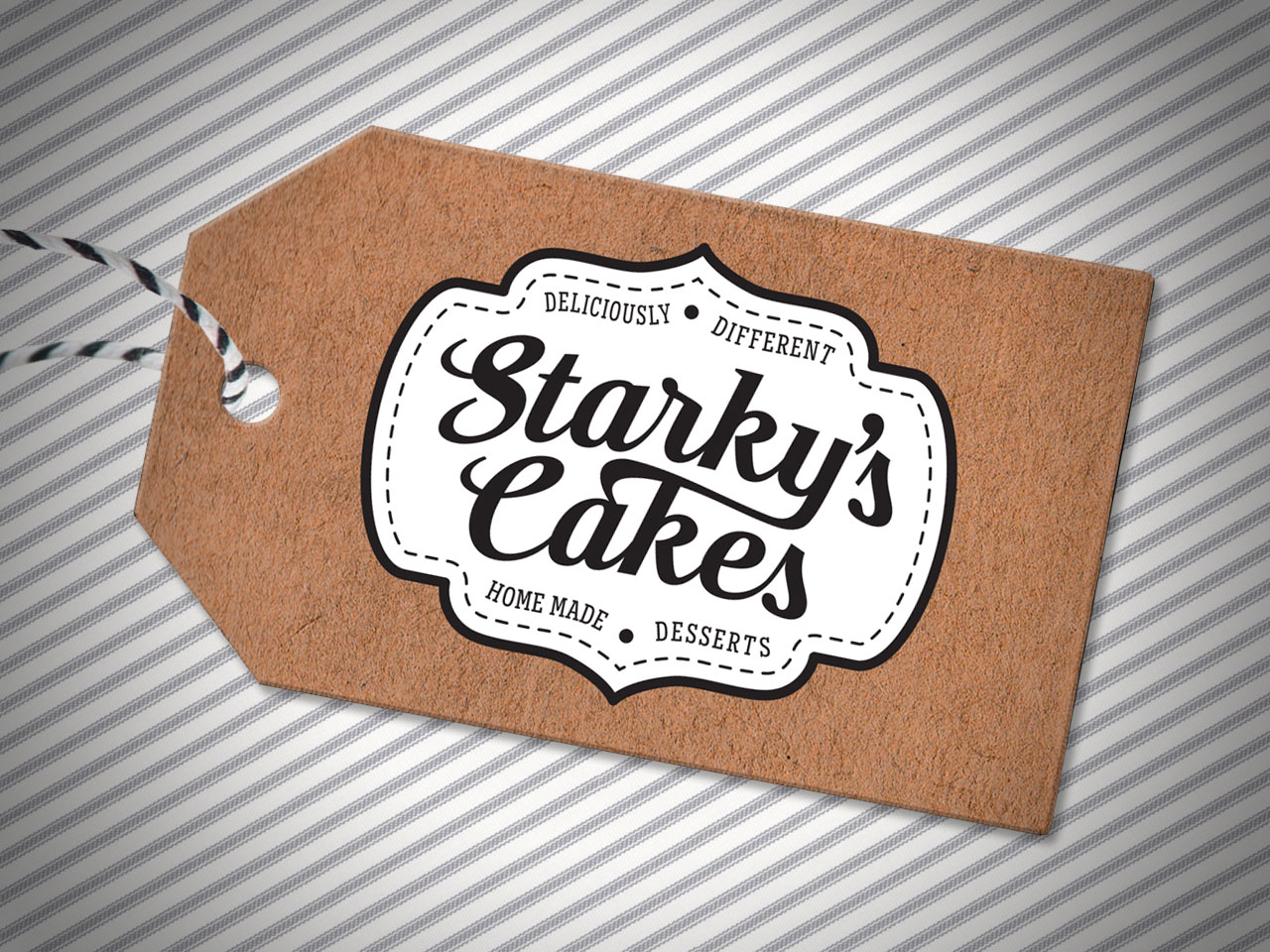 STARKY'S CAKES - Identity Design and Recycled Swing Tag. Morrison Design, Graphic Design and Branding Agency Geelong, Melbourne, VIC.