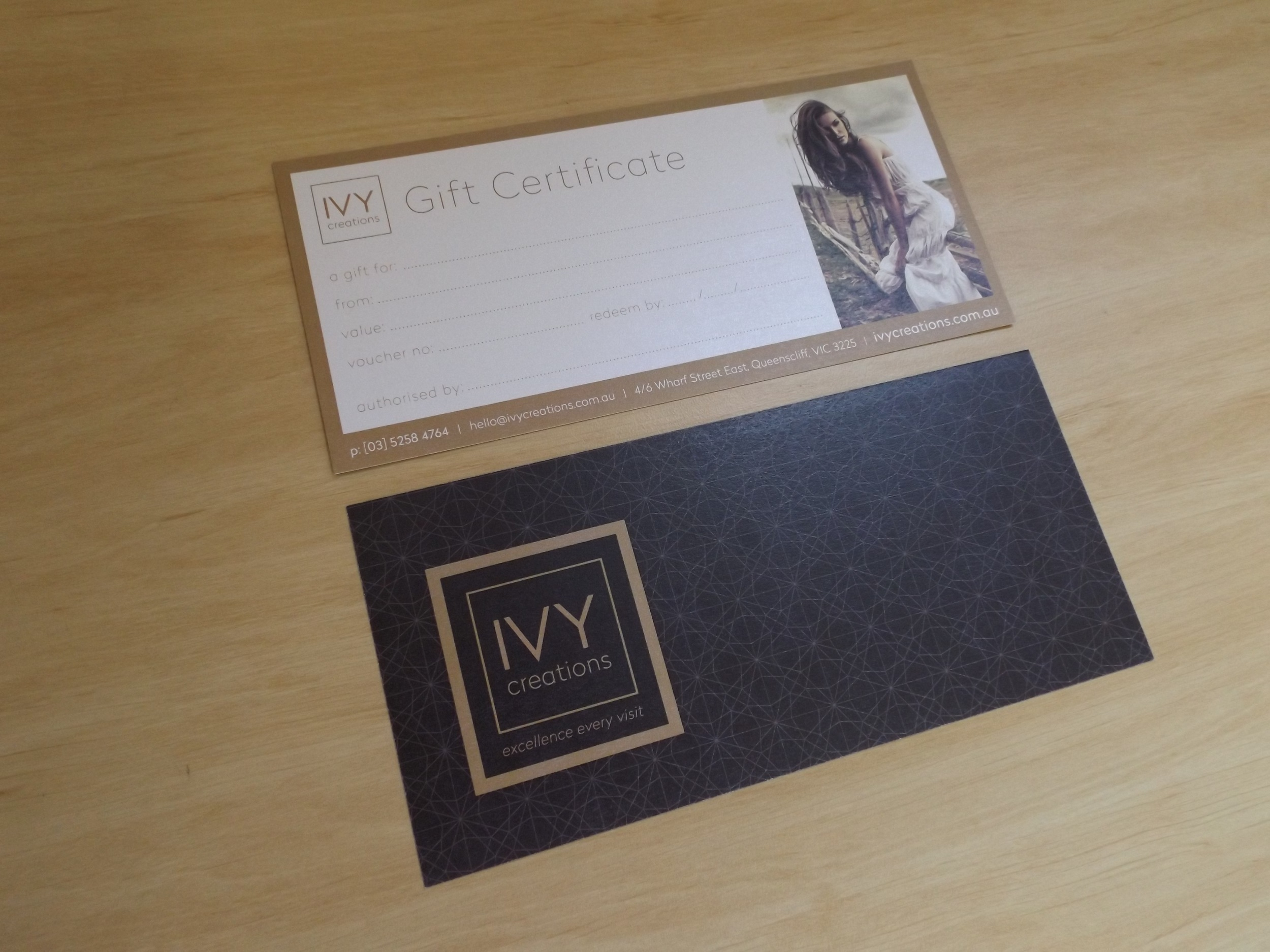 IVY CREATIONS: Rebranding. Scope of work included: Logo Design, Appointment Cards and Stationery Suite, Signage, Brochures and Gift Voucher.