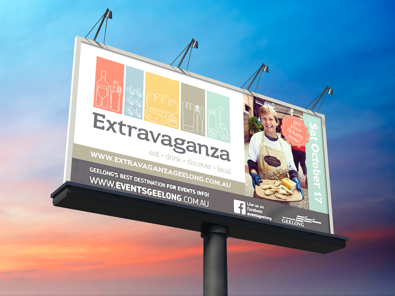 EXTRAVAGANZA - Rebranding. Billboard. Morrison Design, Graphic Design and Branding Agency Geelong, Melbourne, VIC.