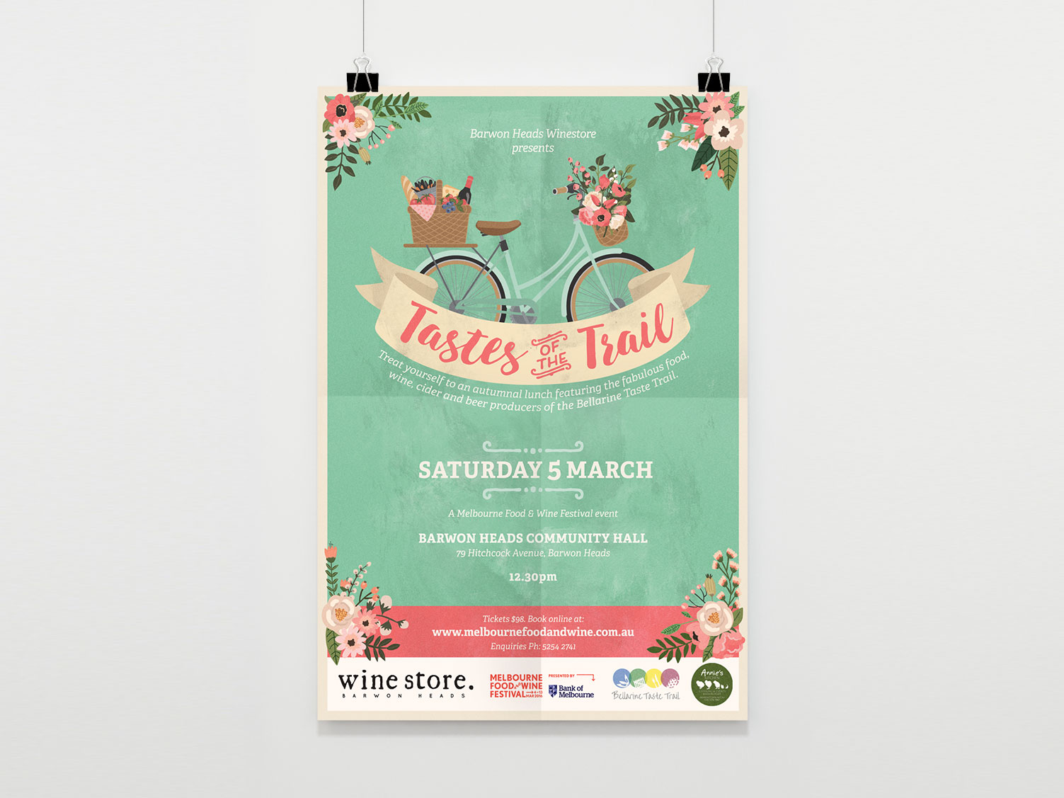 TASTES OF THE TRAIL - Vintage Style Event Poster. Morrison Design Geelong, Melbourne.