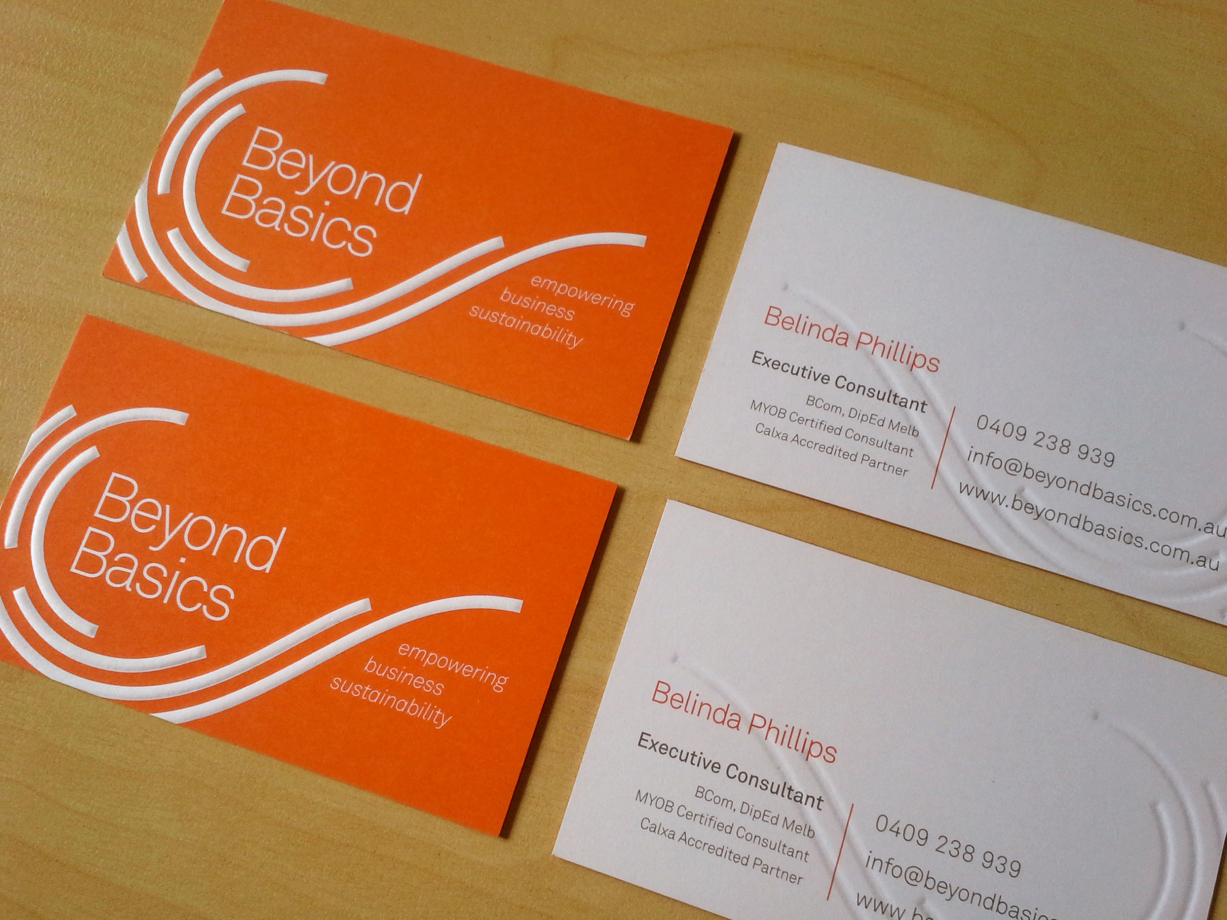 BEYOND BASICS: Brand Development & Embossed Business Cards.