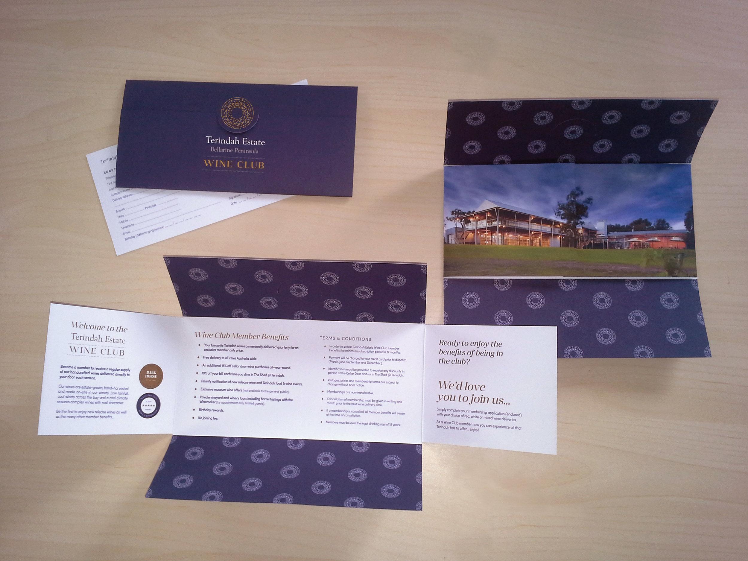 TERINDAH ESTATE WINERY: Wine Club Branding and Membership Invitation Pocket design.