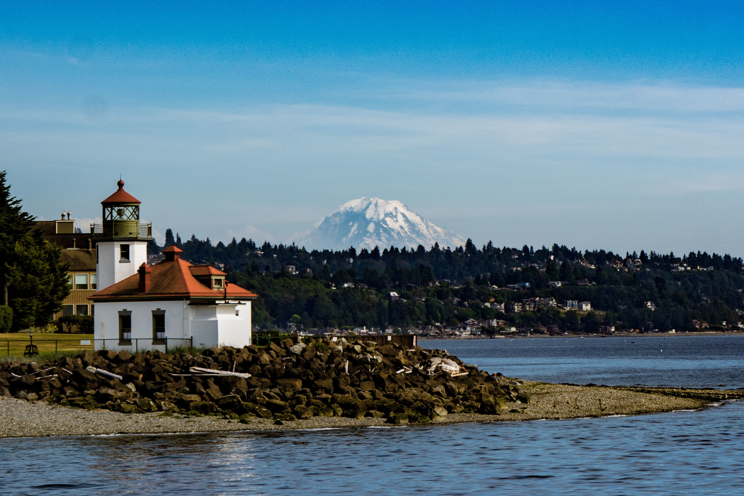 Lighthouse and Mt. Rainier from Puget Sound. Mt Rainier was STUNNING, 70+ miles away.