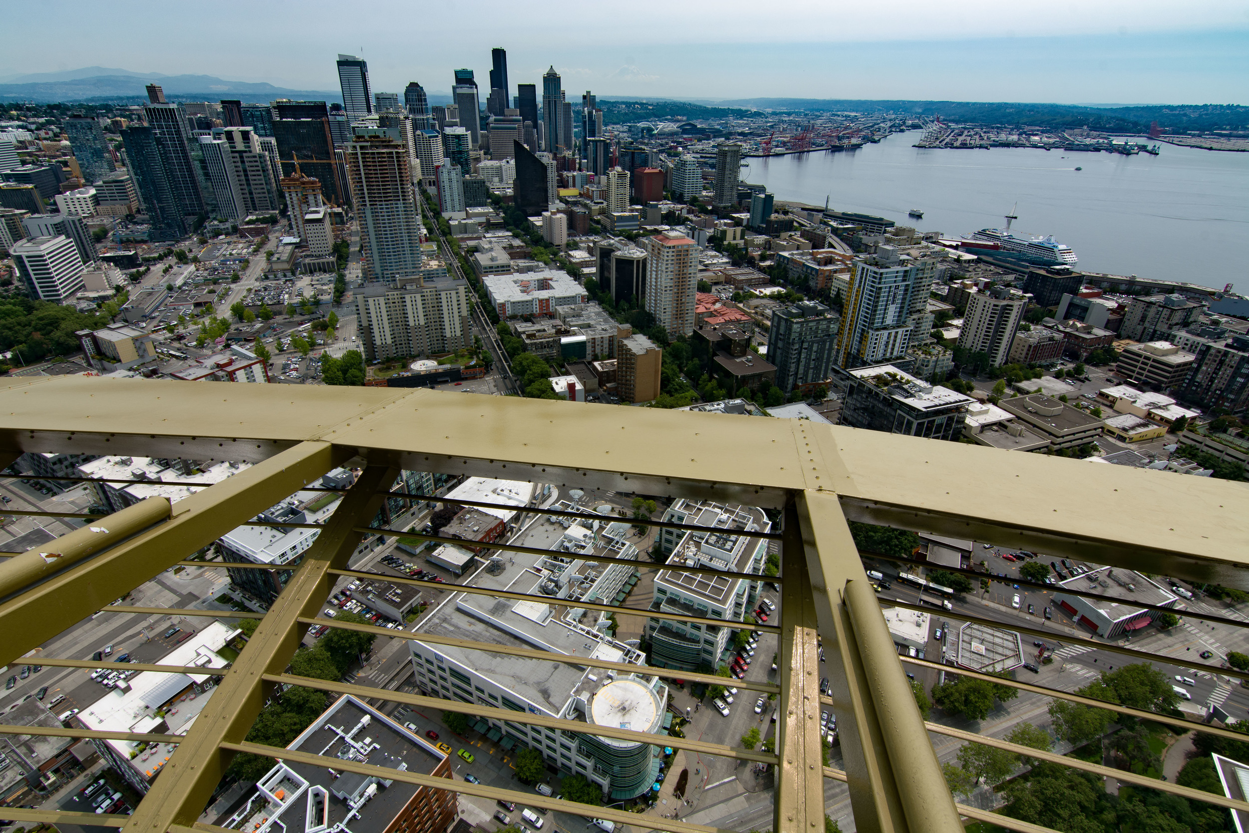 Helluva view from 600+ feet up. Space Needle Observation Deck, Seattle, WA.