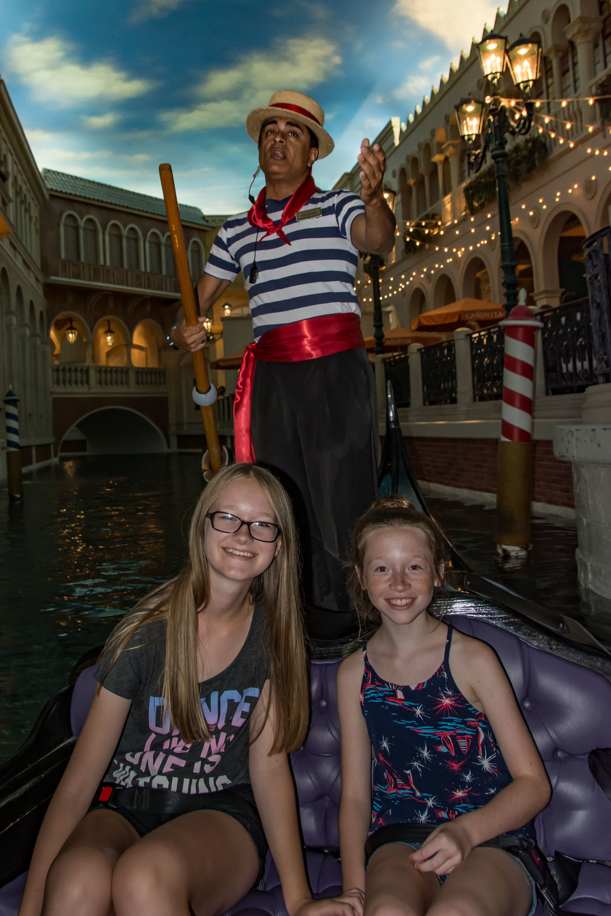 The girls being serenaded by Salvatore in our gondola ride, The Venetian, Las Vegas.