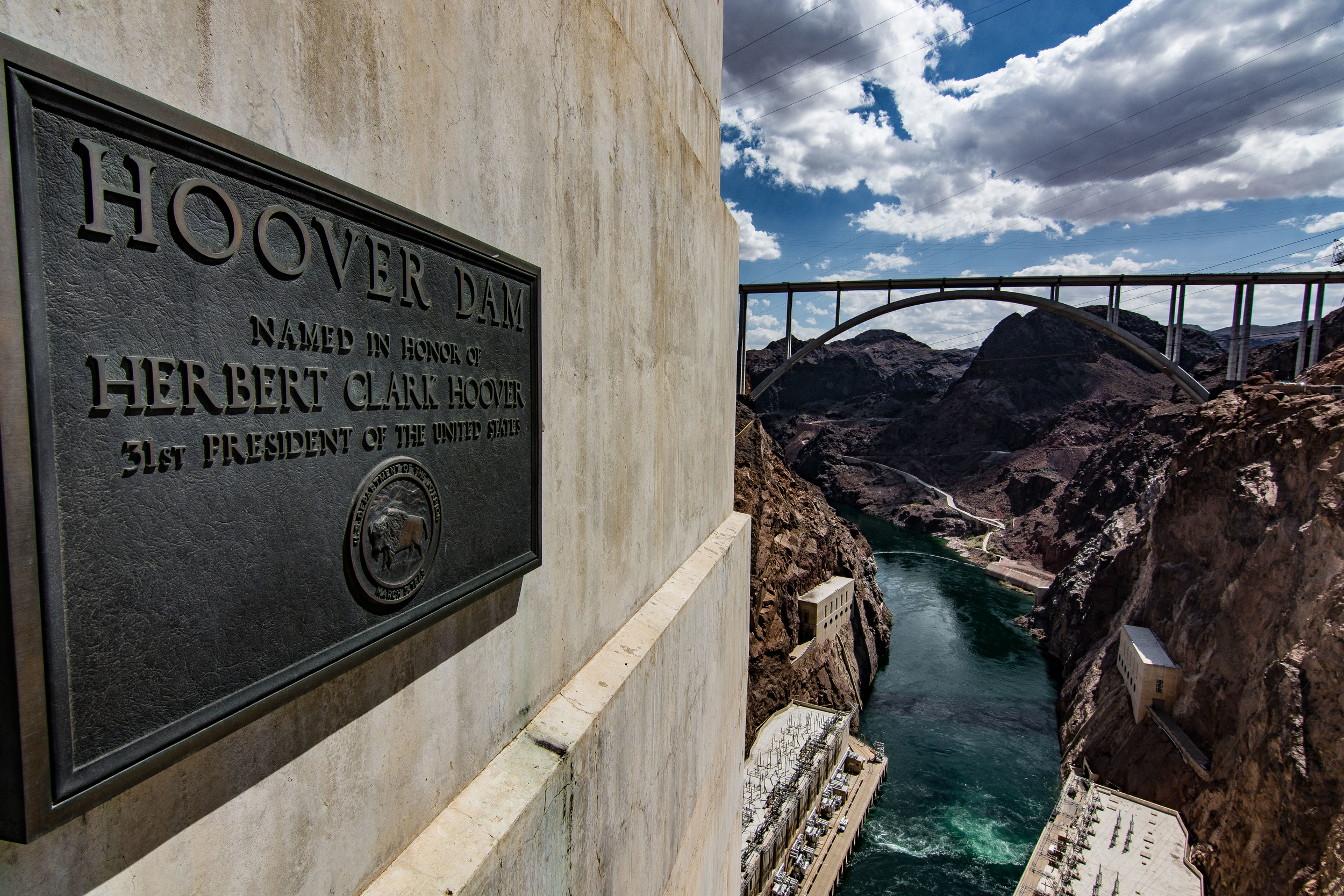 View of the spillway below and the new Mike O'Callaghan–Pat Tillman Memorial Hoover bypass bridge.