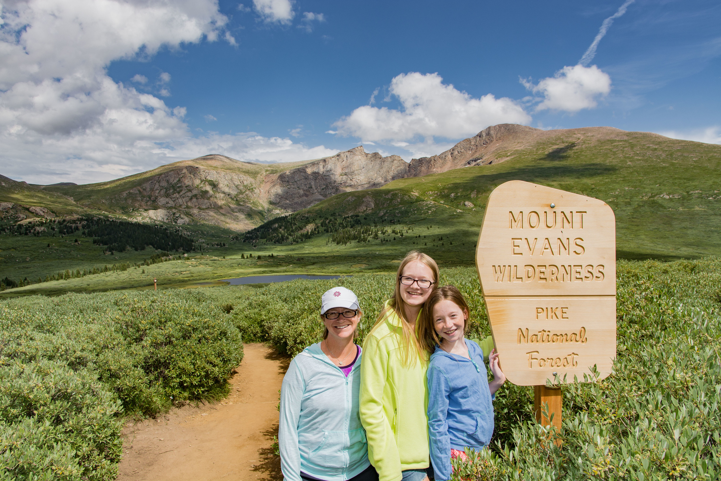Our hike in the Rockies. The peak in the background is Mt. Bierstadt, jut over 14,000 feet, we made it to 12,100.