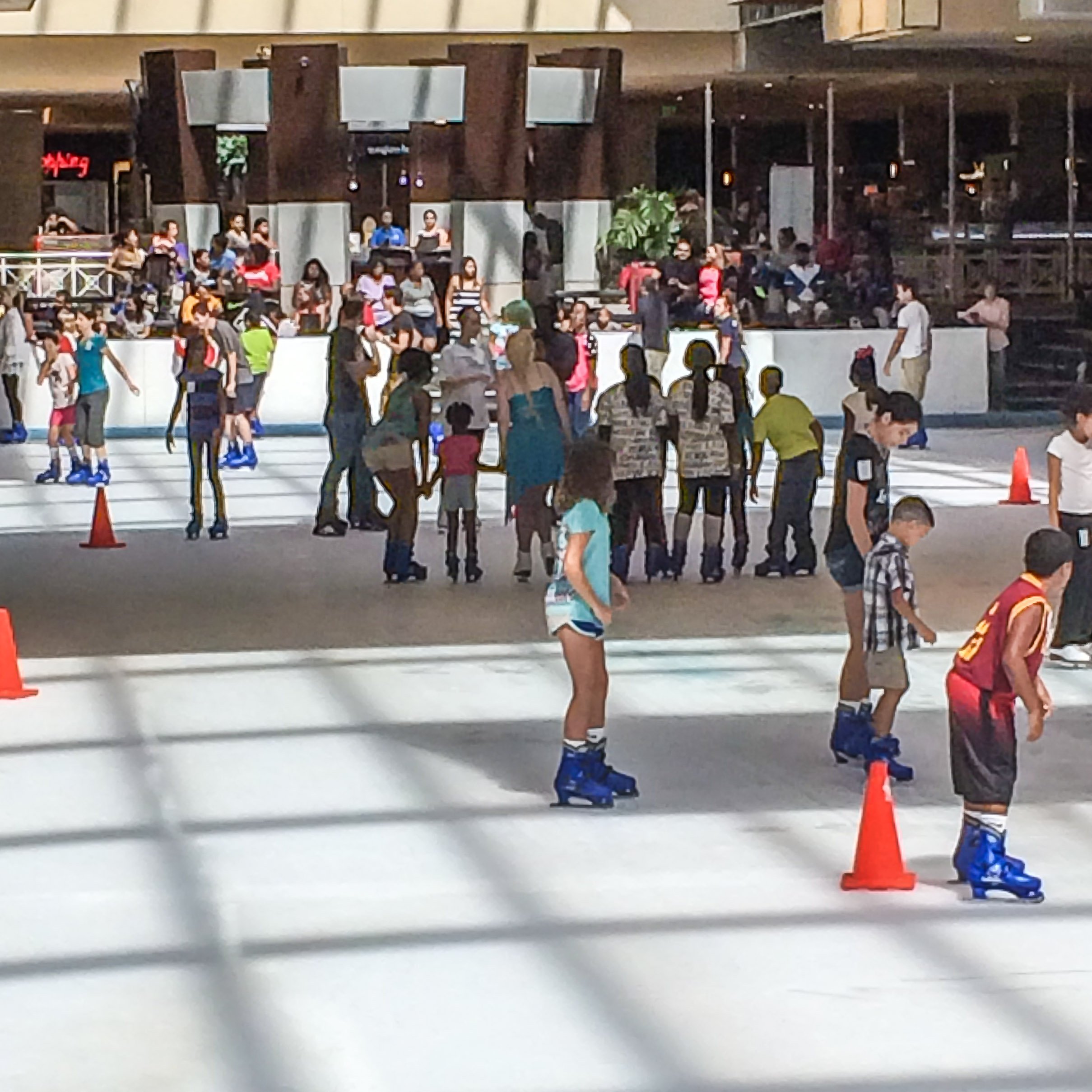 The Houston Galleria mall has...an ice skating rink. Of course it does. In addition to a Cadillac and Tesla showroom, etc.