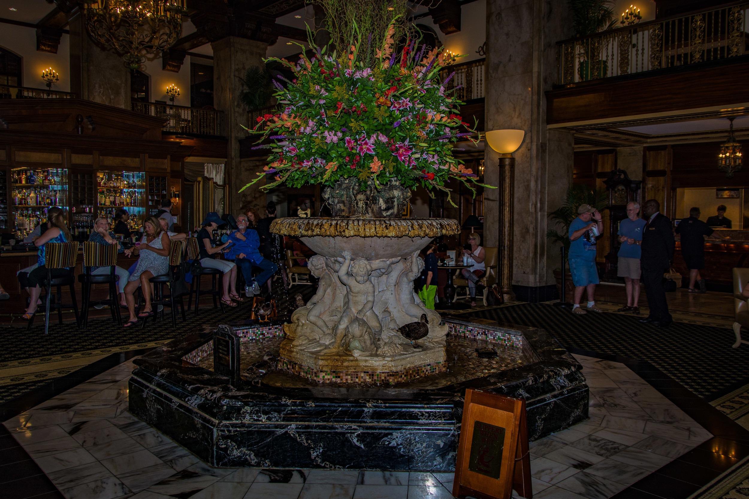The lobby fountain where the ducks hang.