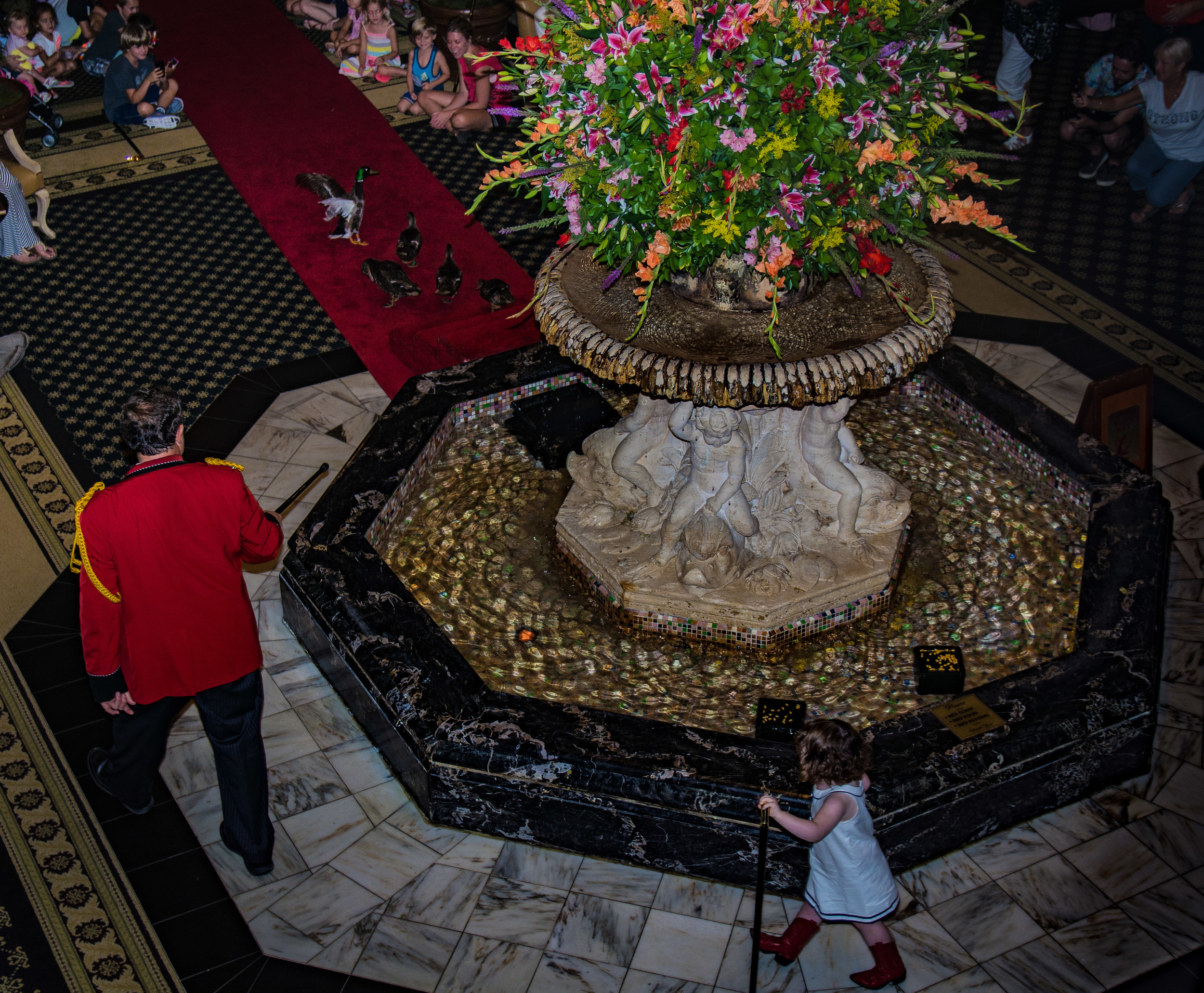 There was a huge crowd close to the ducks, so we went up to watch from the balcony overlooking the lobby. The young lady in her red boots was the honorary duckmaster.