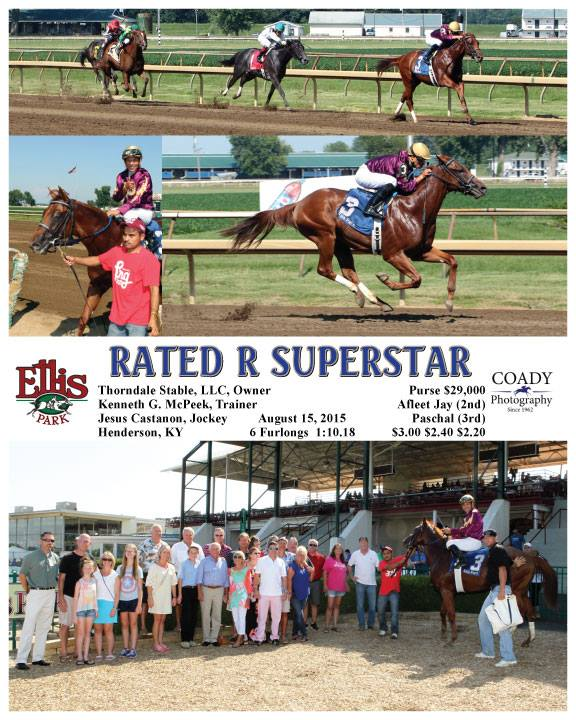 Winner circle photos, including us sneaking in with the Owner's group and the horse. Love the name...