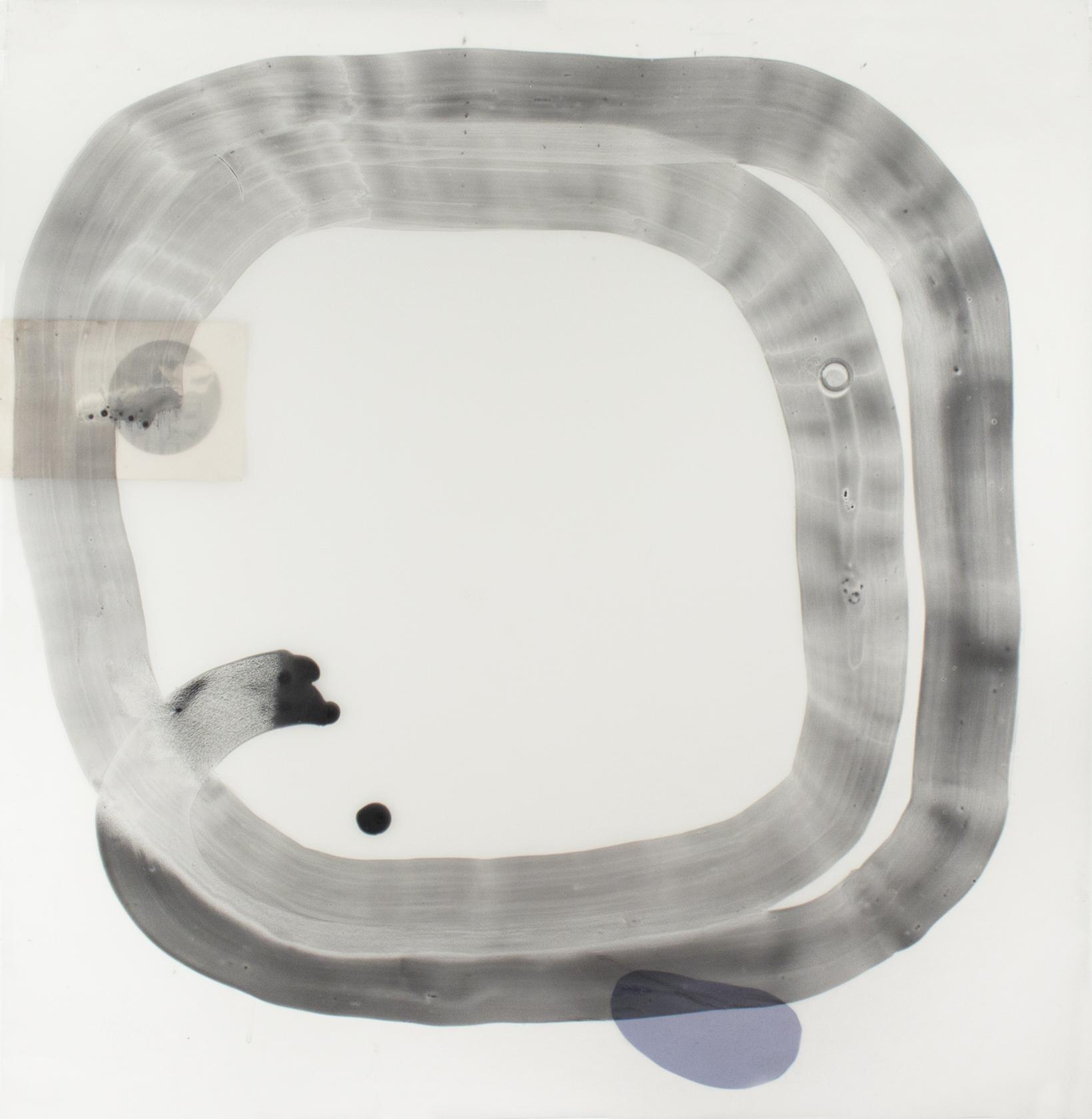 "Snake 24"" x 24"" acrylic and collage on mylar."