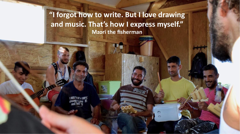 Music-centered workshop at a refugee camp near Thessaloniki, Greece