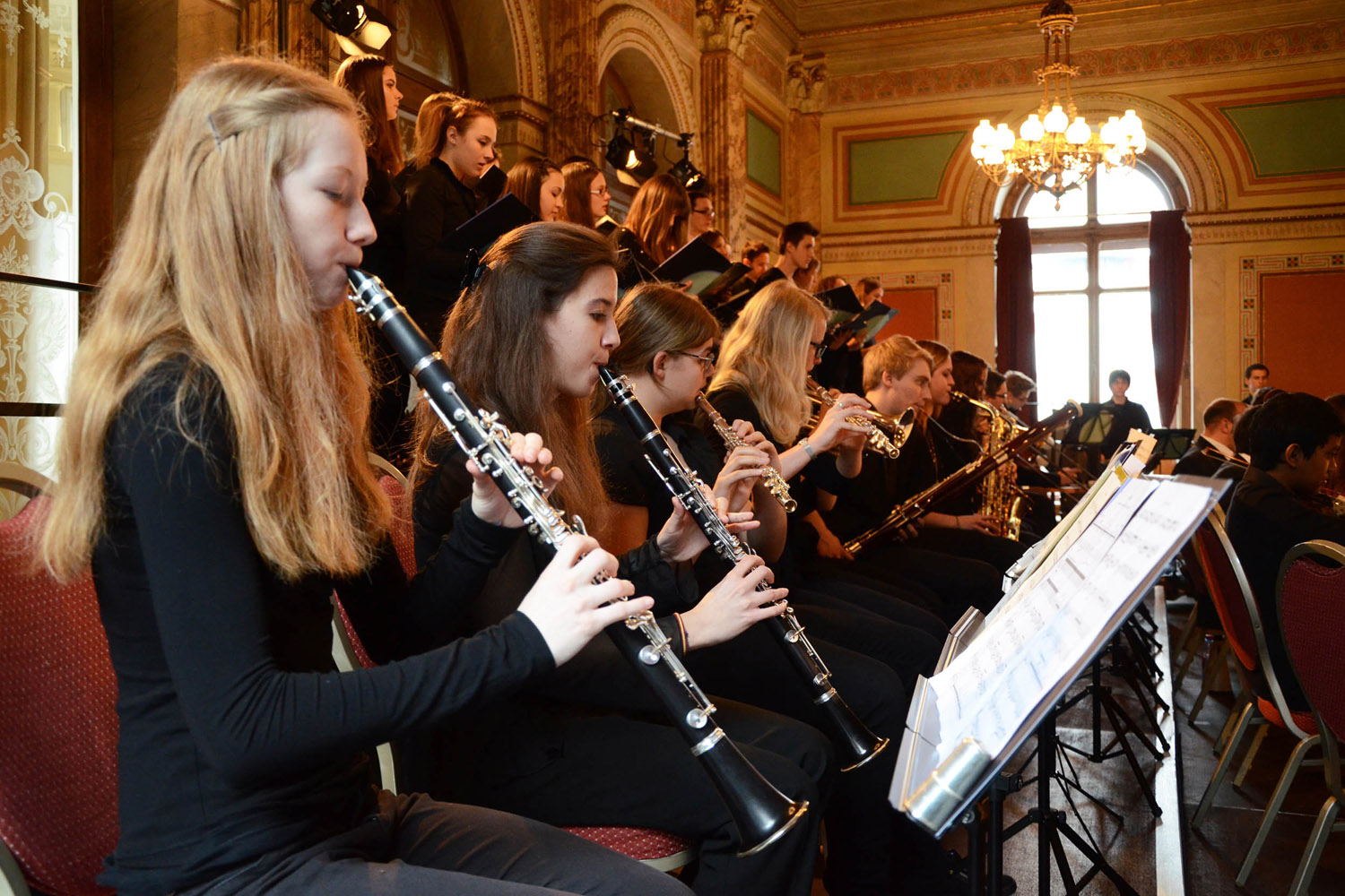 2013 Lucerne: high school students in performance with members of the Human Rights Orchestra
