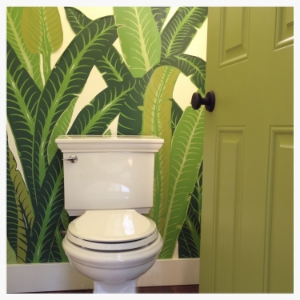 """Small water closet gets huge impact with a vintage tropical wall panel purchased from eBay. The panel is only 54"""" wide and perfect for the tiny room. Entry door gets punch of bright green to ease into the room."""