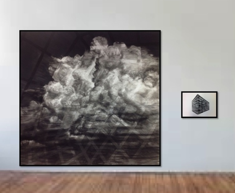 "Weather Lately (diptych, charcoal on paper 130""x100"")"