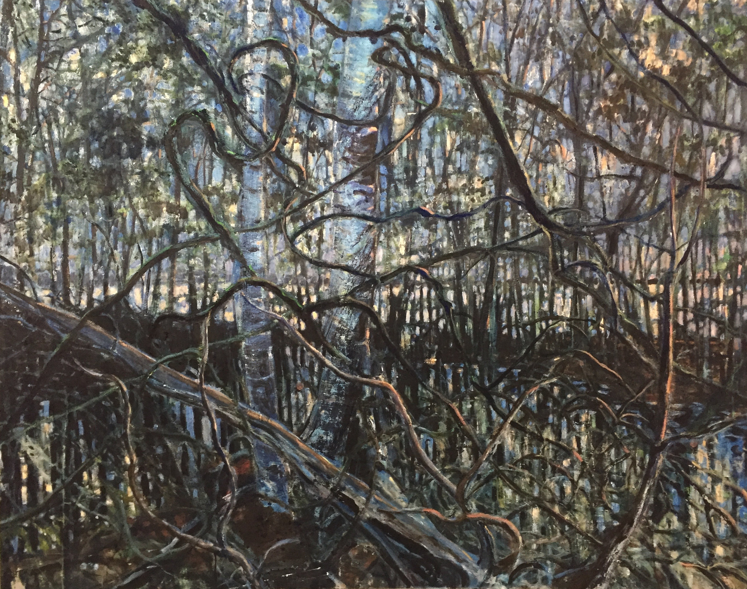 Swamp at Dawn (left panel of diptych) oil on canvas 4'x5'