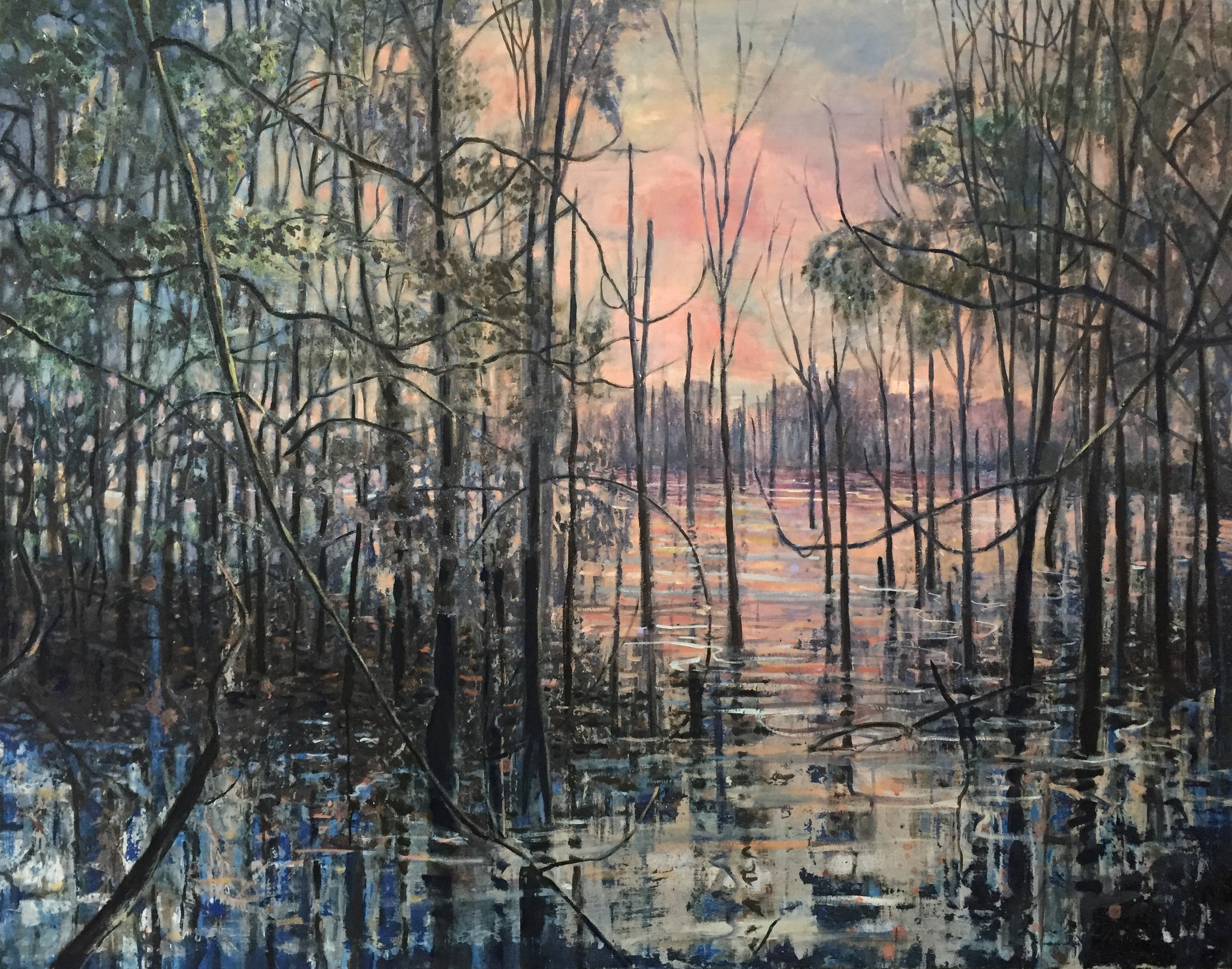 Swamp at Dawn (right panel of diptych) oil on canvas 4'x5'