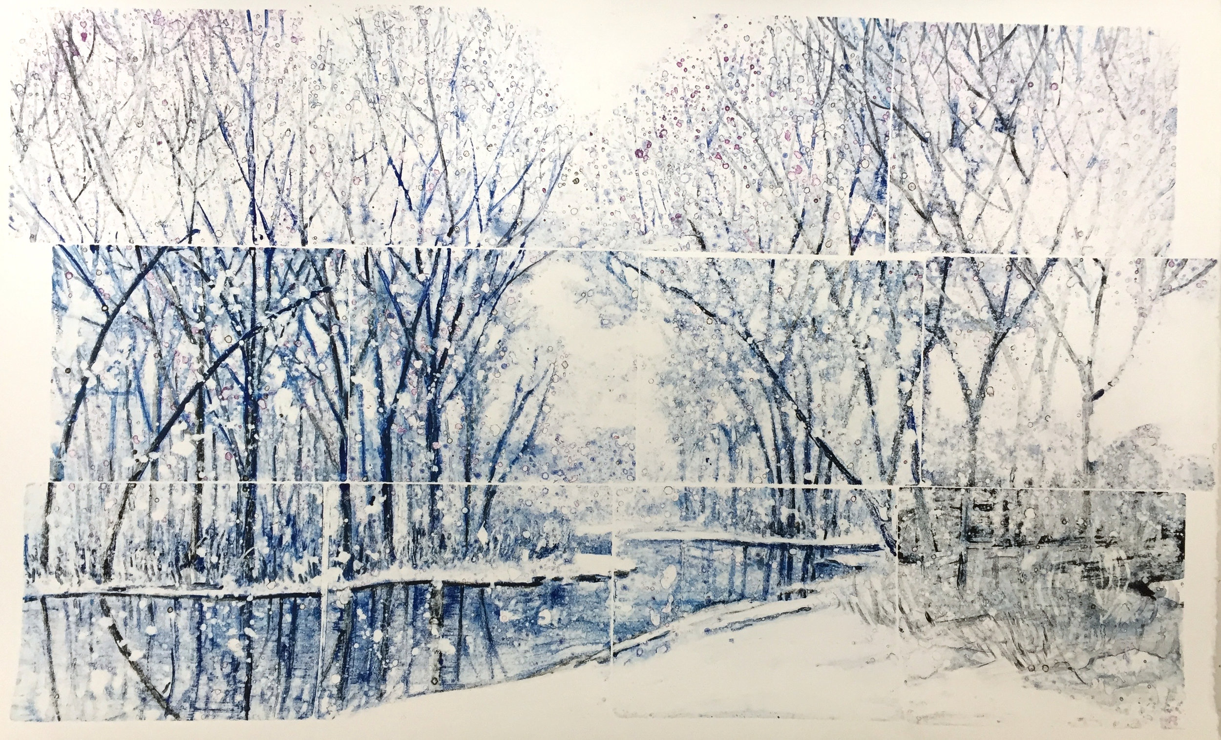 "Moscow Swamp 1 watercolour monotype 48""x36"""