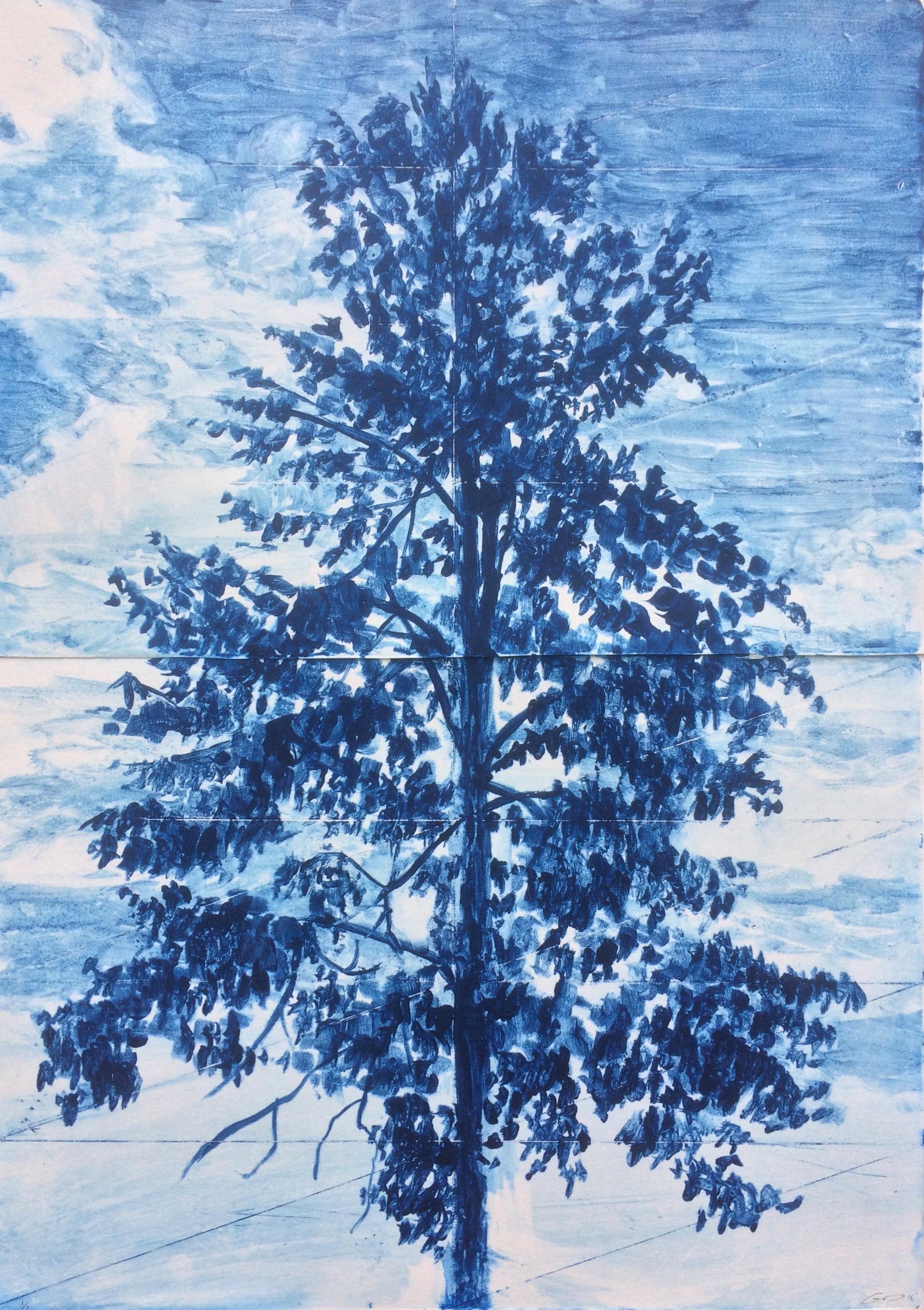 "Tree Portrait 1 watercolour monotype 12""x18"""