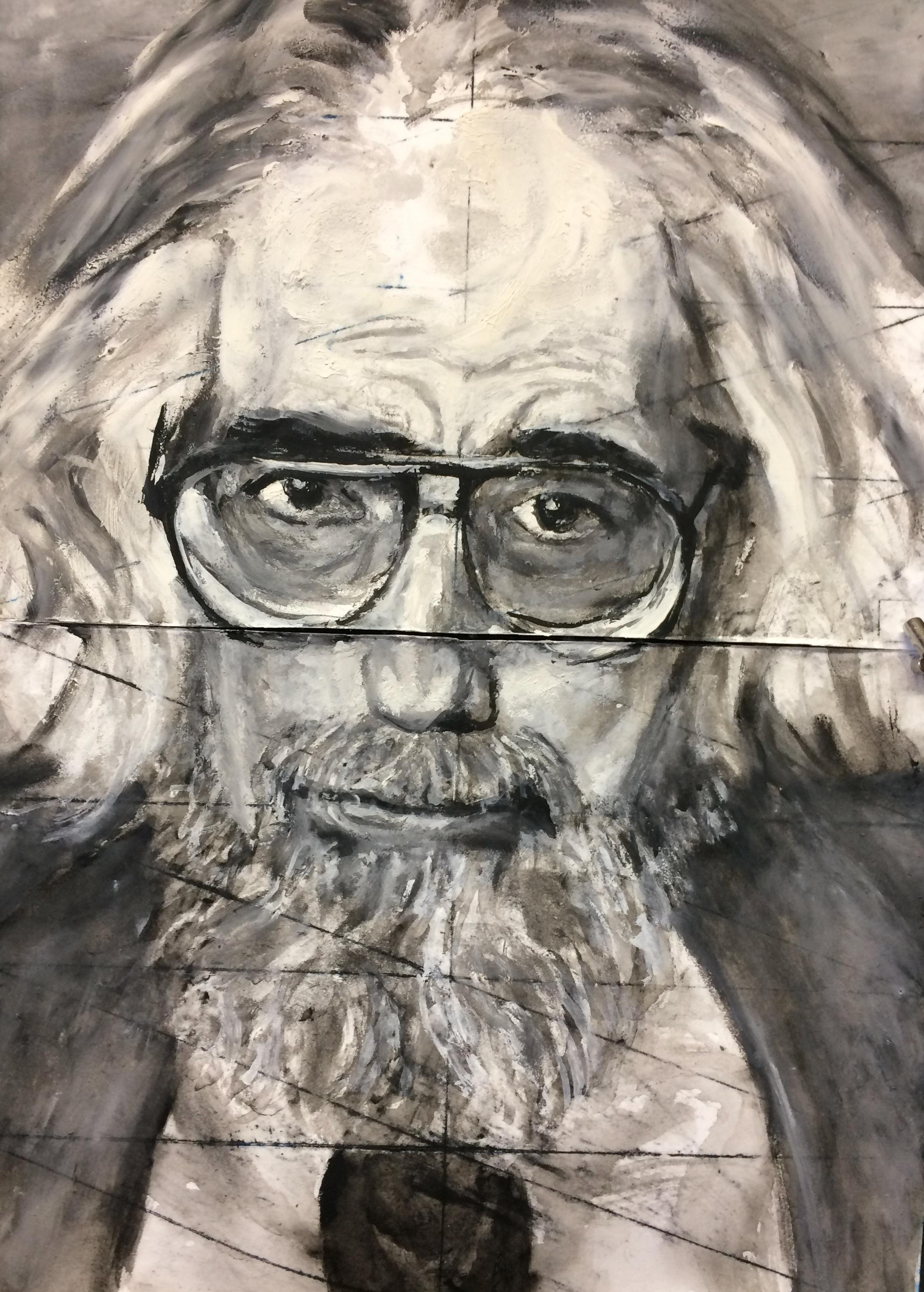 """commissioned portrait watercolour monotype 12""""x18"""""""