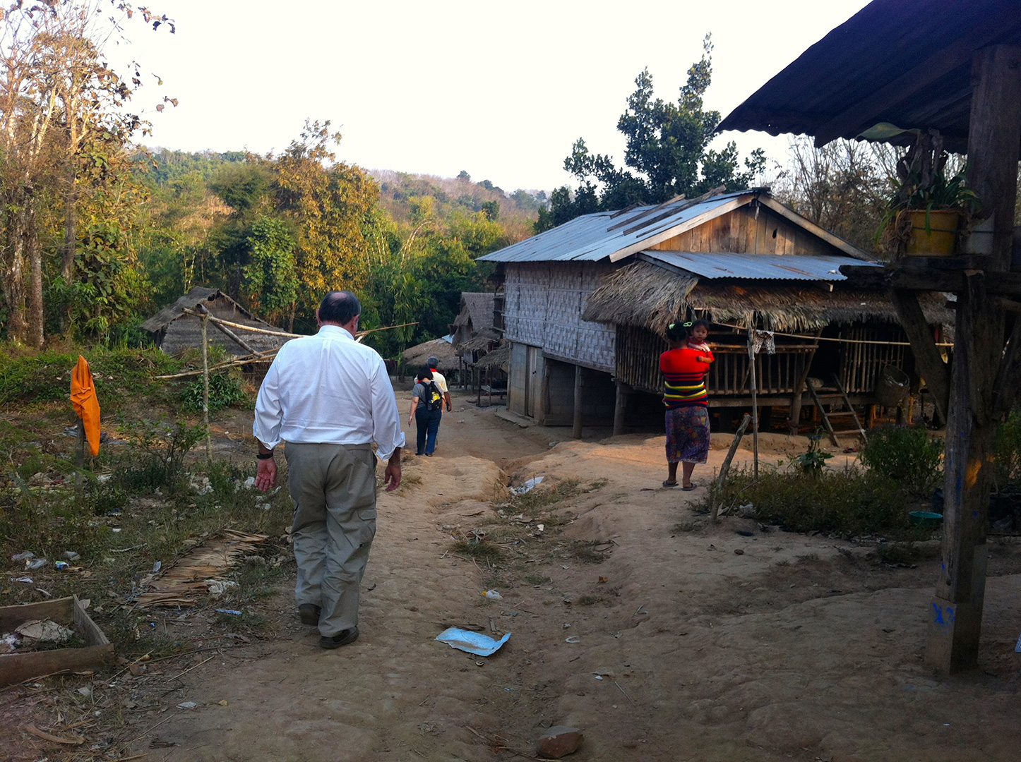 Heading down to the water source of Fung Na community