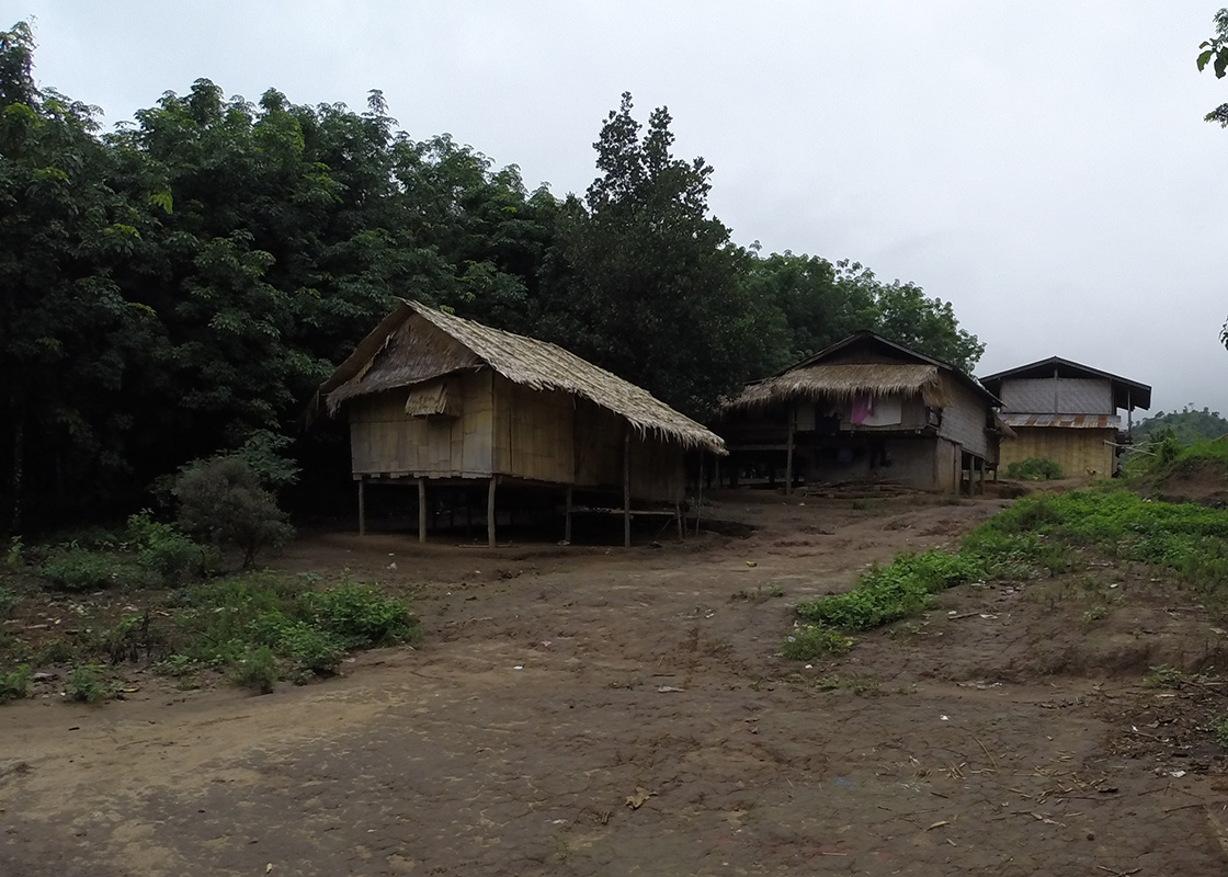 Houses in Fung Na, next to rubber plantations