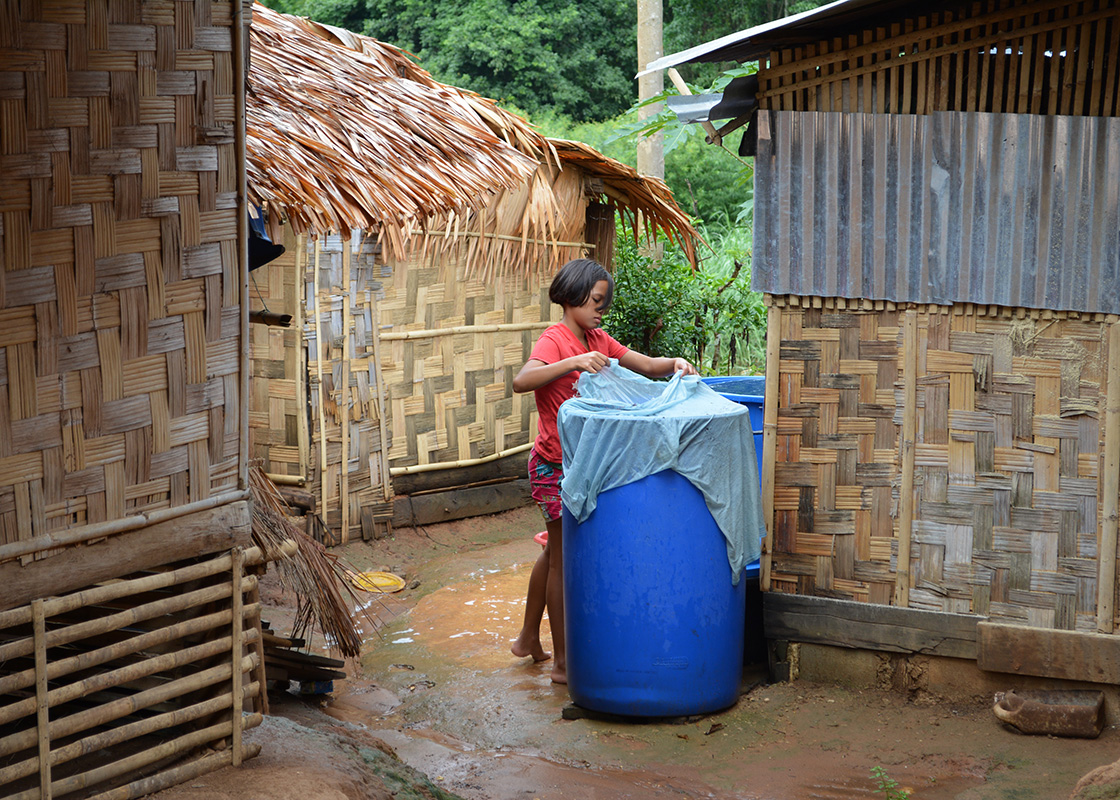 Some households catch and use rain water in addition to the river water.