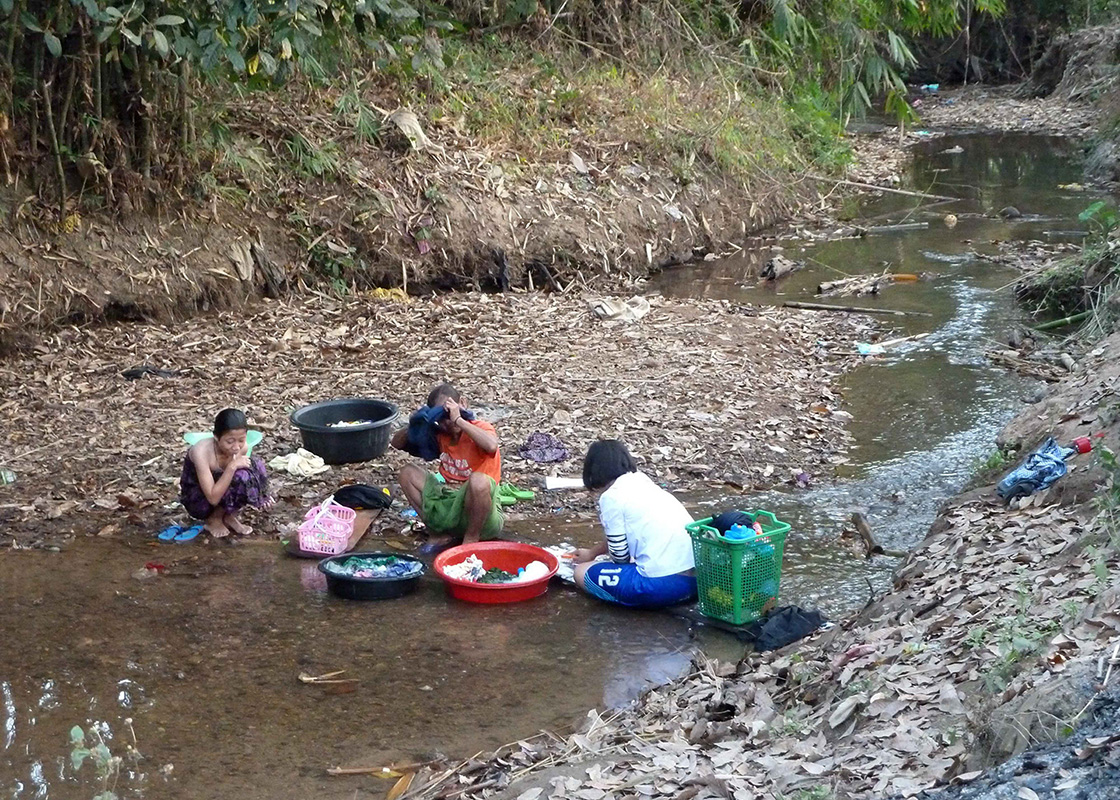 The locals cleaning in the stream